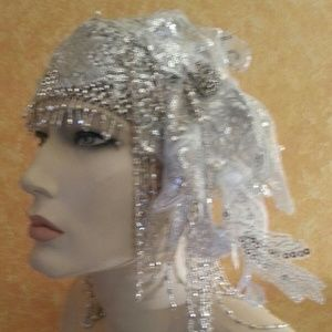 Silver Gatsby Fringe Bead Lace Crystal Headpiece